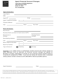 "Form PWD0914 ""Agent Financial Account Changes"" - Texas"