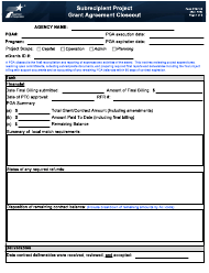 "Form PTN-105 ""Subrecipient Project Grant Agreement Closeout"" - Texas"