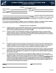 "Form ROW-U-48 ""Statement Covering Utility Construction Contract Work (As Appearing in Estimate)"" - Texas"