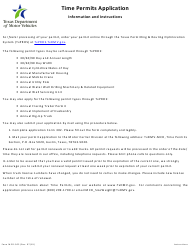 "Form MCD-302 ""Application for Time Permits"" - Texas"