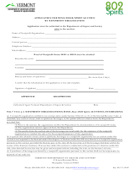 """Application for Wine/Beer/Spirit Auction by Nonprofit Organization"" - Vermont"
