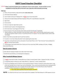 """""""Vdfp Travel Voucher Checklist"""" - Virginia"""