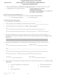"Form NP-1 ""Sales and Use Tax Exemption Application for Nonprofit Organizations"" - Virginia"