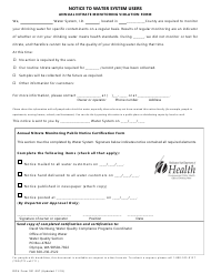 "DOH Form 331-357 ""Notice to Water System Users: Annual Nitrate Monitoring Violation"" - Washington (English/Spanish)"