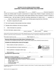 "DOH Form 331-412 ""Quarterly Nitrate Monitoring Violation Form"" - Washington"