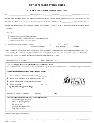 "DOH Form 331-461 ""Lead and Copper Monitoring Violation"" - Washington (English/Spanish)"