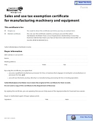 """Form REV27 0021 """"Sales and Use Tax Exemption Certificate for Manufacturing Machinery and Equipment"""" - Washington"""