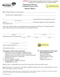 "Form REV80 0034 ""Business Affidavit"" - Washington"
