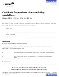 """Form REV27 0048 """"Certificate for Purchase of Nonpolluting Special Fuels"""" - Washington"""