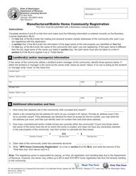 "Form BLS-700-115 ""Manufactured/Mobile Home Community Registration"" - Washington"