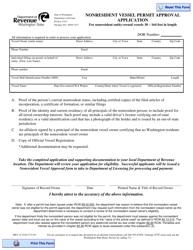 "Form REV32 2516 ""Nonresident Vessel Permit Approval Application"" - Washington"