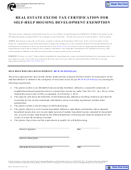 """Form REV84 0018 """"Real Estate Excise Tax Certification for Self-help Housing Development Exemption"""" - Washington"""