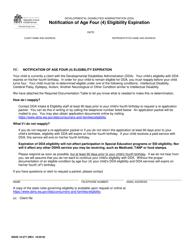 """DSHS Form 10-377 """"Notification of Age Four (4) Eligibility Expiration"""" - Washington"""