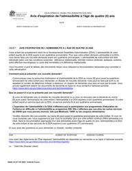 """DSHS Form 10-377 """"Notification of Age Four (4) Eligibility Expiration"""" - Washington (French)"""