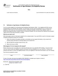 """DSHS Form 10-582 """"Notification of Age Nineteen (19) Eligibility Review"""" - Washington"""