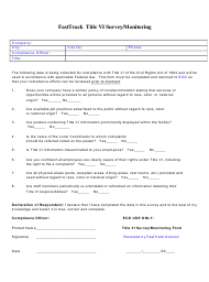 """""""Fasttrack Title VI Survey/Monitoring"""" - Tennessee"""