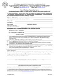"TDLR Form 069IHB ""Recertification Transmittal Form"" - Texas"