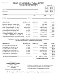 "Form GS-5 ""Publications Order Form"" - Texas"