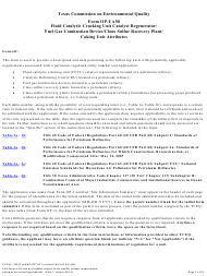 "Form OP-UA50 (10223) ""Fluid Catalytic Cracking Unit Catalyst Regenerator/Fuel Gas Combustion Device/Claus Sulfur Recovery Plant Attributes"" - Texas"