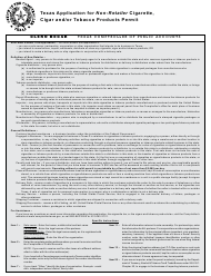 """Form AP-175 """"Texas Application for Non-retailer Cigarette, Cigar and/Or Tobacco Products Permit"""" - Texas"""