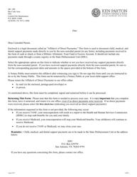 """Form 1A007E """"Custodial Parent's Affidavit of Direct Payments"""" - Texas"""