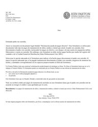 """Formulario 1A011S """"Declaracion Jurada De Pagos Directos Del Padre Sin Custodia"""" - Texas (Spanish)"""