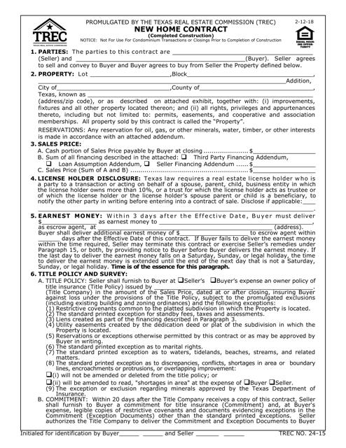 TREC Form 24-15  Printable Pdf