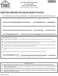 "Form IBSS-3 ""Application for Inactive Broker or Sales Agent Status"" - Texas"
