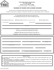 "Form BSCN-3 ""Change of Name for License Holder"" - Texas"