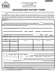 "Form BH-3 ""Background History Form"" - Texas"
