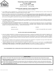 "Form REPIA-8 ""Application for Professional Real Estate Inspector License"" - Texas"