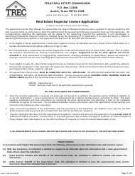 "Form REIA-7 ""Application for Real Estate Inspector License Application"" - Texas"