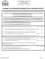 "Form CDO/MGR-4 ""Change of Designated Broker for a Business Entity"" - Texas"