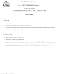 "Form CCR-2 ""Classroom Ce Course Completion Roster"" - Texas"