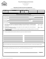 "Form ED PAF-0 ""Education Provider Annual Fee Application"" - Texas"