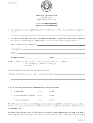 "Form 133.16 ""Texas Crowdfunding Portal Withdrawal of Registration"" - Texas"