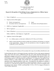 "Form 133.23 ""Request for Recognition of out-Of-State License or Registration by a Military Spouse"" - Texas"