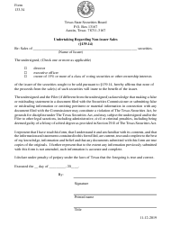 "Form 133.34 ""Undertaking Regarding Non-issuer Sales"" - Texas"