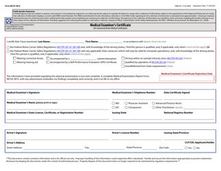 "Form MCSA-5876 ""Medical Examiner's Certificate"""