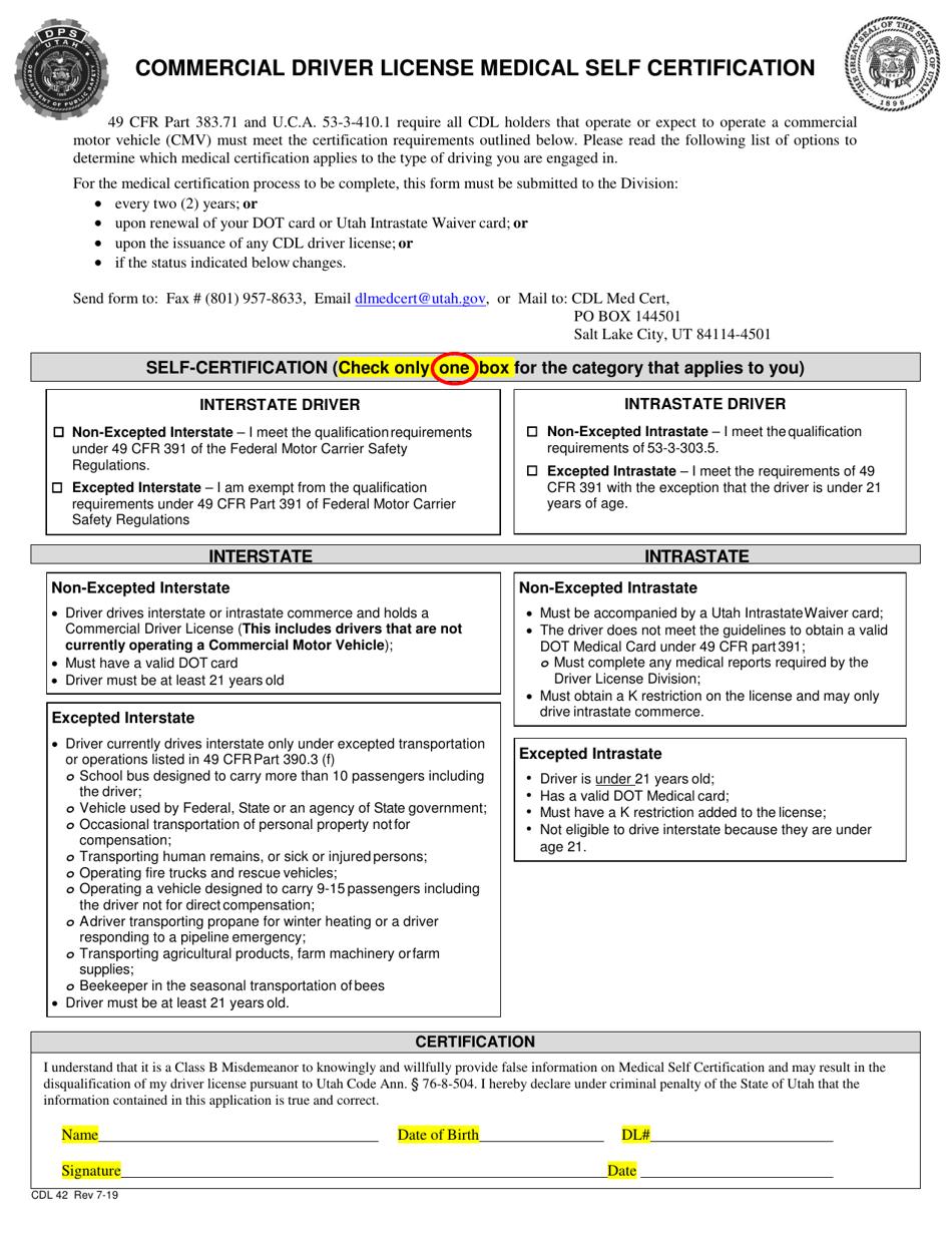 form medical license certification self driver utah commercial pdf printable fill templateroller