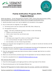 """Family Unification Program Referral Form"" - Vermont"