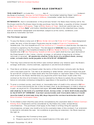 """""""Timber Sale Contract Template"""" - Vermont"""