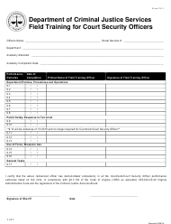 """Form CS-1 """"Field Training for Court Security Officers"""" - Virginia"""