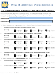 "EDR Form F ""Participant Evaluation of Mediators and the Mediation Process"" - Virginia"
