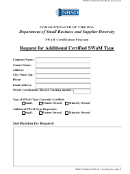 """Request for Additional Certified Swam Type"" - Virginia"