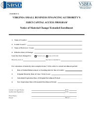 "Exhibit 4 ""Ssbci Capital Access Program Notice of Material Change/ Extended Enrollment"" - Virginia"