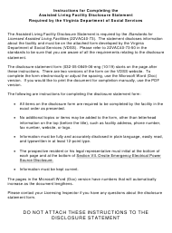 """Form 032-05-0849-06 """"Assisted Living Facility Disclosure Statement"""" - Virginia"""