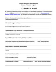 "Form 032-05-0088-09 ""Statement of Intent"" - Virginia"