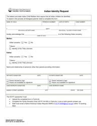 "DCYF Form 09-761 ""Indian Identity Request"" - Washington"