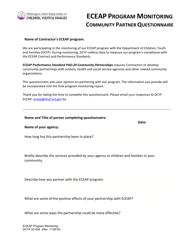 "DCYF Form 23-046 ""Eceap Program Monitoring Community Partner Questionnaire"" - Washington"